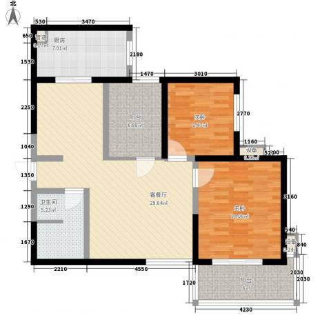 国际幸福城2室1厅1卫1厨100.00㎡户型图
