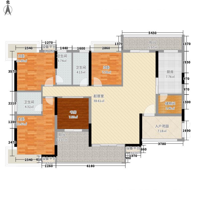 科城山庄户型图B18/B19栋-03户型 4室2厅3卫1厨
