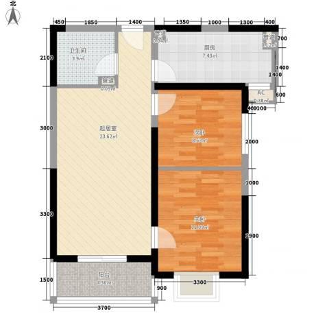 弘和美邻馆2室0厅1卫1厨77.00㎡户型图