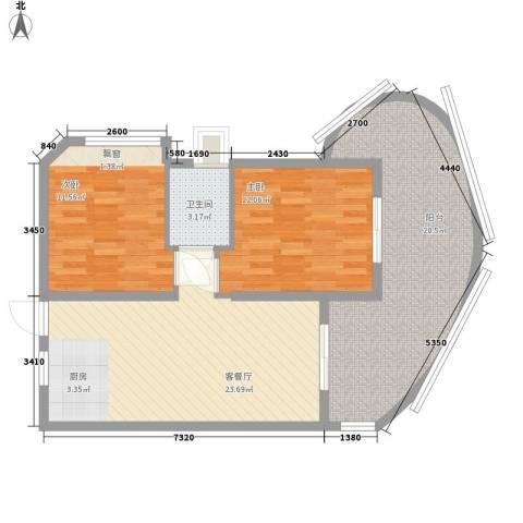 平海逸龙湾2室1厅1卫0厨100.00㎡户型图
