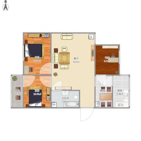南苑小区3室2厅1卫1厨102.00㎡户型图