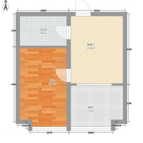 沈阳世界温泉部落(一期)美国郡1室1厅1卫1厨48.00㎡户型图