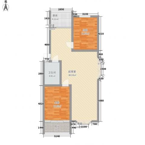 华信花园2室0厅1卫1厨106.00㎡户型图