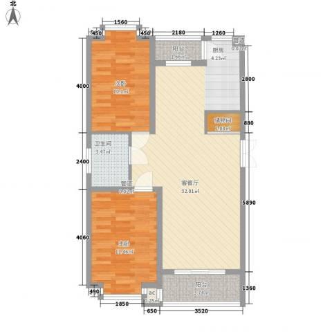 伸马梧桐湾2室1厅1卫0厨91.00㎡户型图