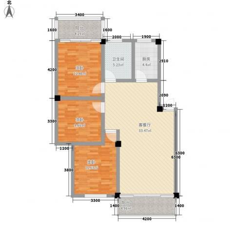 憩苑小区3室1厅1卫1厨124.00㎡户型图