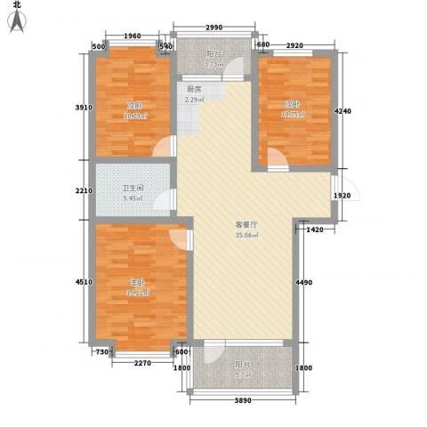 沈阳世界温泉部落(一期)美国郡3室1厅1卫0厨108.00㎡户型图