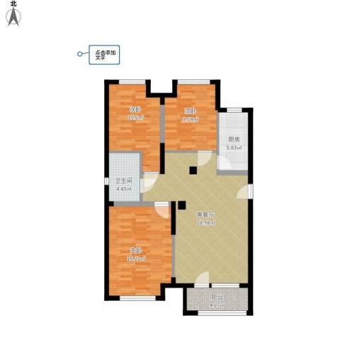 宏发长岛3室1厅1卫1厨89.64㎡户型图