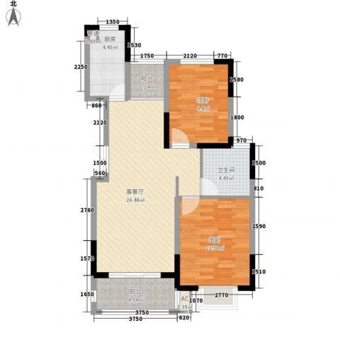 浦发领秀城2室1厅1卫1厨94.00㎡户型图