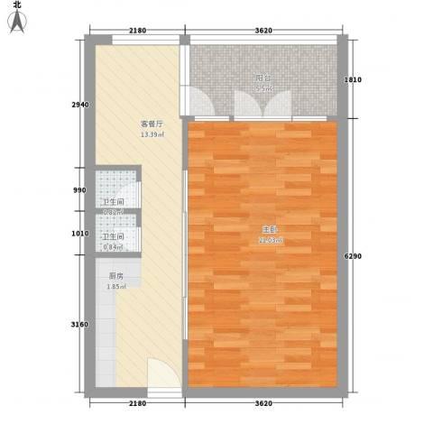 沈阳世界温泉部落(一期)美国郡1室1厅2卫0厨59.00㎡户型图