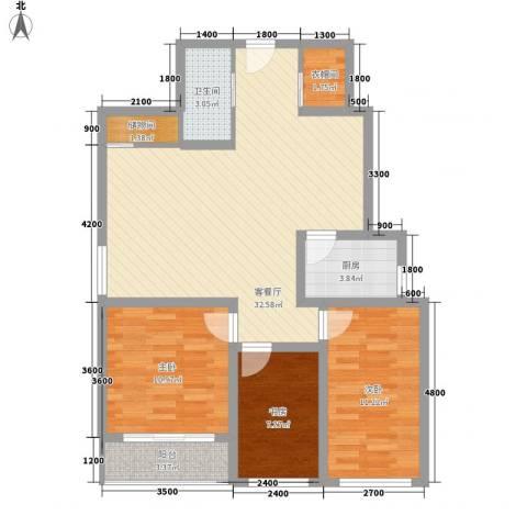 欣中爱丁堡项目3室1厅1卫1厨120.00㎡户型图