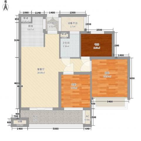 金色家园3室1厅1卫0厨88.00㎡户型图