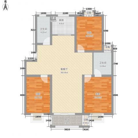 东方名城和园3室1厅2卫1厨131.00㎡户型图