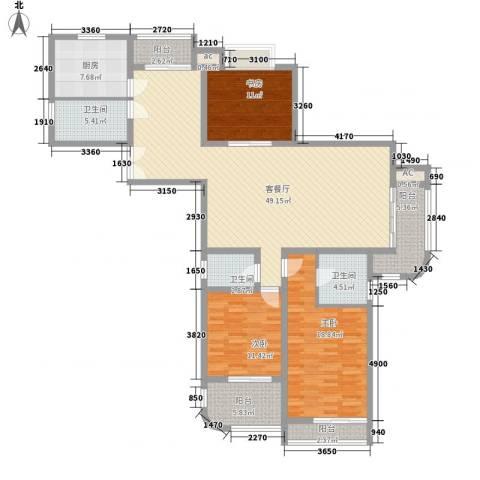 大华阳城四期阳城美景3室1厅3卫1厨185.00㎡户型图