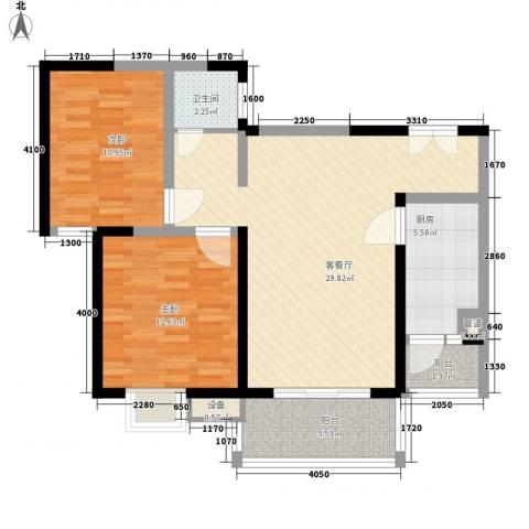 怡水花园2室1厅1卫1厨94.00㎡户型图