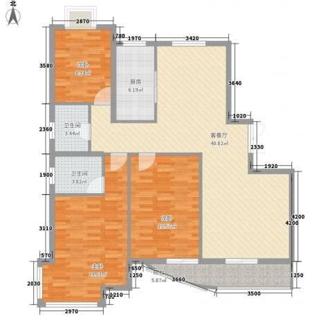 三北名都3室1厅2卫1厨145.00㎡户型图