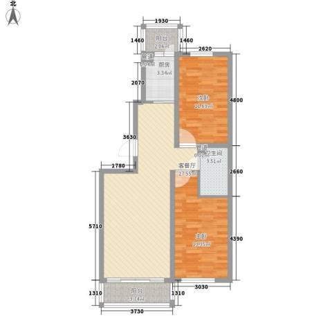 日出印象茗苑2室1厅1卫1厨76.00㎡户型图