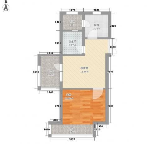 中天富城1室0厅1卫1厨51.00㎡户型图