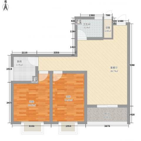 新徐印象2室1厅1卫1厨96.00㎡户型图
