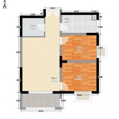 新兴骏景园二期2室1厅1卫1厨78.00㎡户型图