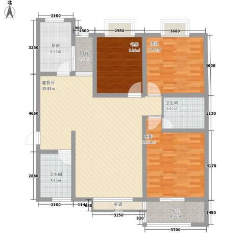 海荣豪佳花园3室1厅2卫1厨138.00㎡户型图