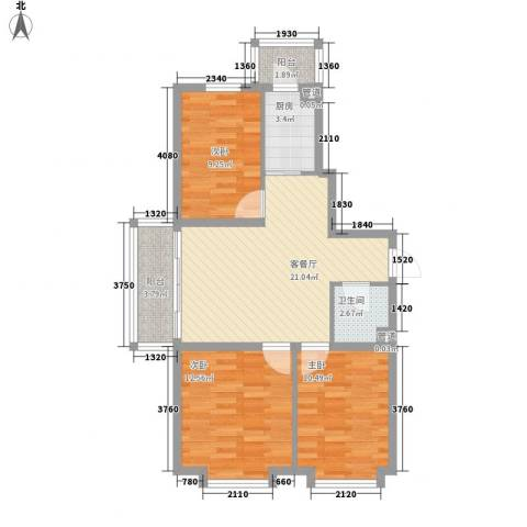 日出印象茗苑3室1厅1卫1厨75.00㎡户型图