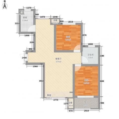 中国铁建・明山秀水2室1厅1卫1厨88.00㎡户型图