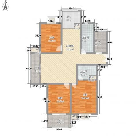 东郡华庭3室0厅2卫1厨154.00㎡户型图