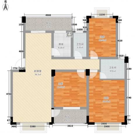 康源绿洲康城3室0厅2卫1厨99.37㎡户型图