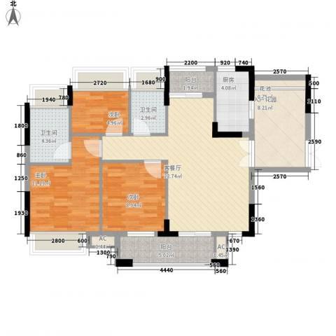 时富花园3室1厅2卫1厨82.00㎡户型图