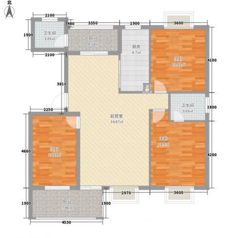 康源绿洲康城3室0厅2卫1厨125.00㎡户型图