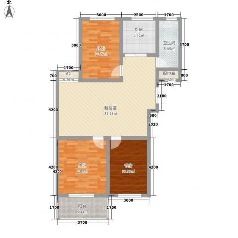 御府园3室0厅1卫1厨85.26㎡户型图
