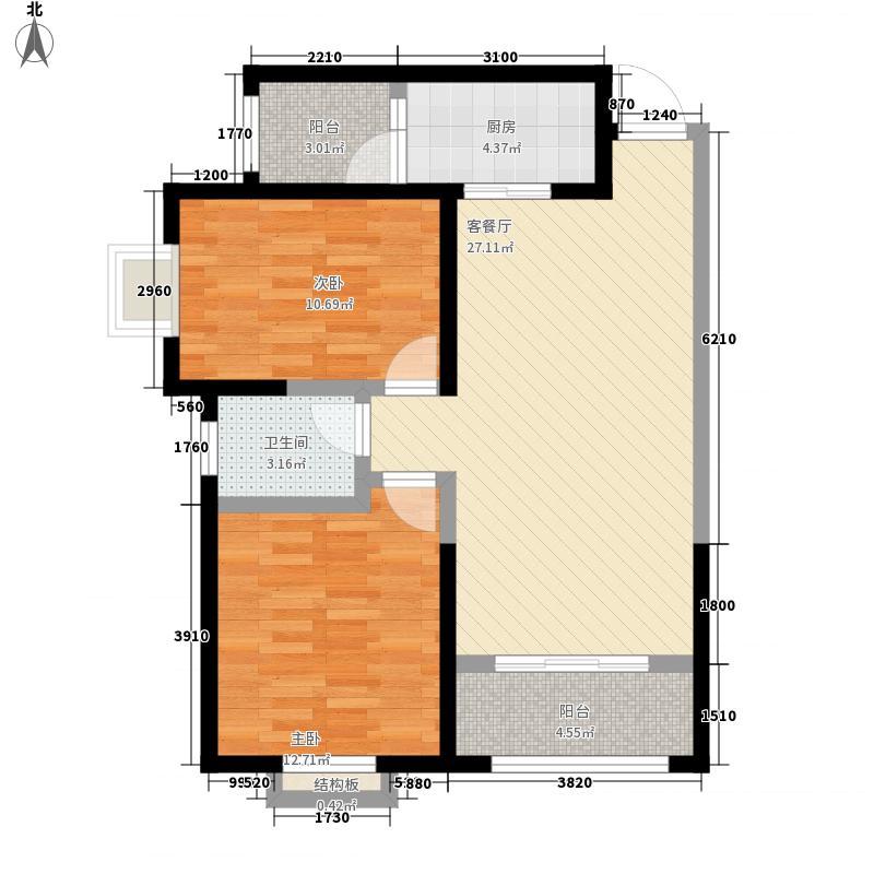 兰雁小区F户型:两房两厅一卫,98.73平米_调整大小户型2室2厅1卫1厨