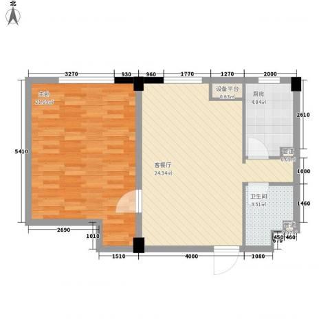 国民院子1室1厅1卫1厨83.00㎡户型图