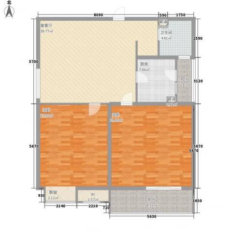 格林馨园2室1厅1卫1厨165.00㎡户型图
