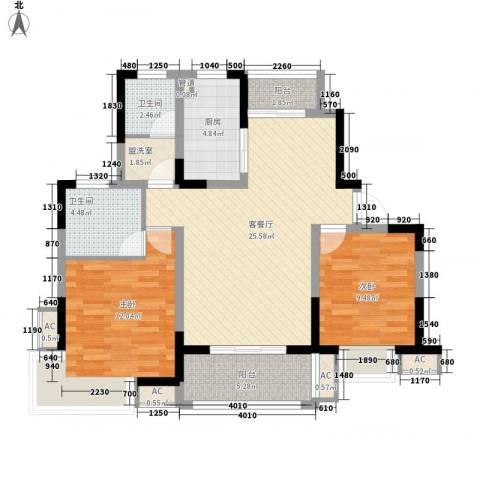 浦发领秀城2室1厅2卫1厨104.00㎡户型图