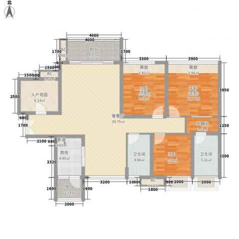 太平广场花园3室1厅2卫1厨106.56㎡户型图