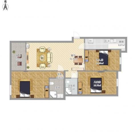 四季金辉3室1厅2卫1厨149.00㎡户型图