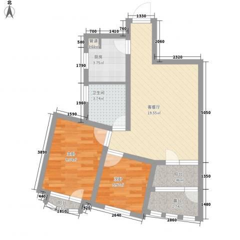 众益阳光海岸2室1厅1卫1厨58.00㎡户型图