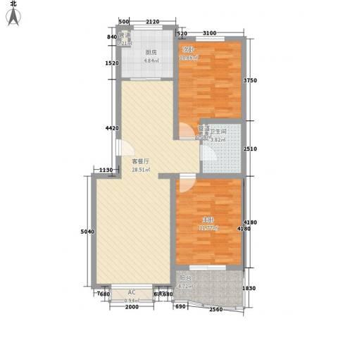 汇隆花园2室1厅1卫1厨95.00㎡户型图