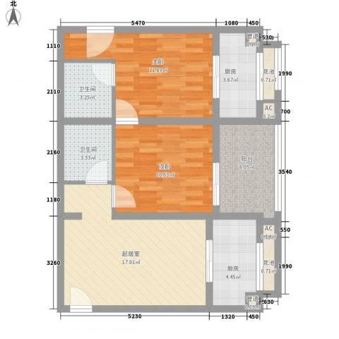 阳光小区2室0厅2卫2厨90.00㎡户型图