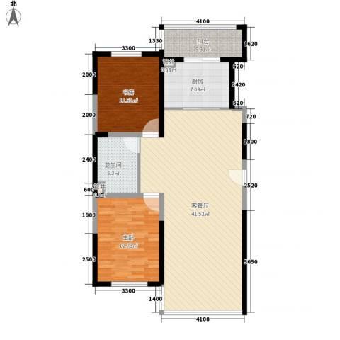桐楠格翡翠城2室1厅1卫1厨83.63㎡户型图