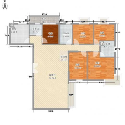 新新家园5室1厅3卫1厨168.00㎡户型图