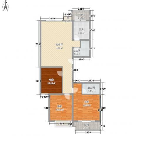 银海水韵3室1厅2卫1厨160.00㎡户型图