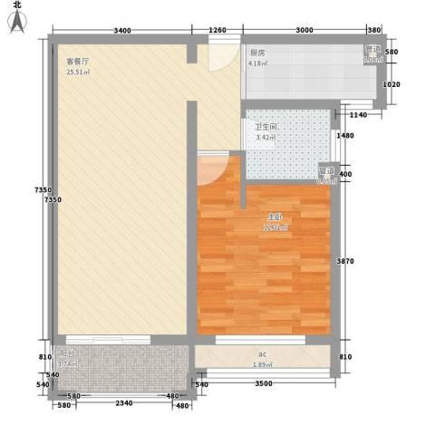 龙湖滟澜山1室1厅1卫1厨74.00㎡户型图