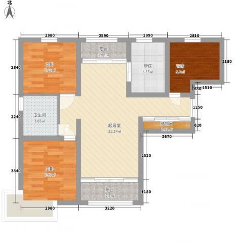 恒盛皇家花园3室0厅1卫1厨86.00㎡户型图