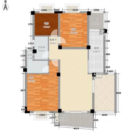 扬子佳竹苑3室1厅2卫1厨146.00㎡户型图