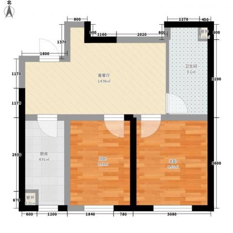 桐楠格翡翠城2室1厅1卫1厨42.82㎡户型图