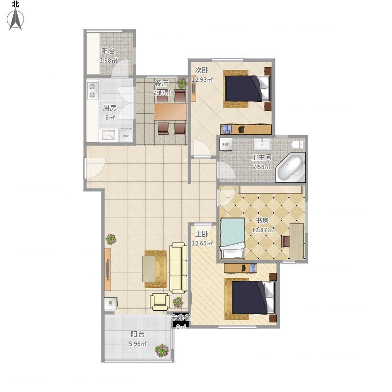 全国-众泰欣苑-设计方案-135平米
