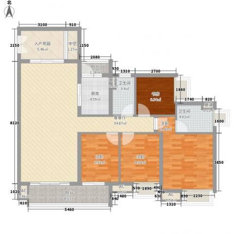南沙・云山诗意4室1厅2卫1厨143.00㎡户型图