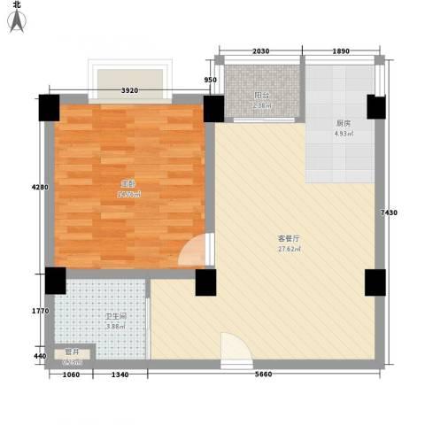 南海桂花园1室1厅1卫0厨55.98㎡户型图